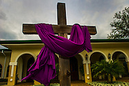 Cross at a Florida church in Holy Week colors
