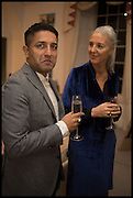 OSMAN YOUSEFZADA ; RUTH CHAPMAN, Frieze dinner  hosted at by Valeria Napoleone for  Marvin Gaye Chetwynd, Anne Collier and Studio Voltaire 20th anniversary autumn programme. Kensington. London. 14 October 2014.