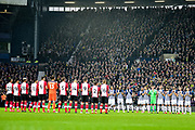 tHE PLAYERS LINE UP TO PAY RESPECTS during the Premier League match between West Bromwich Albion and Southampton at The Hawthorns, West Bromwich, England on 3 February 2018. Picture by Dennis Goodwin.