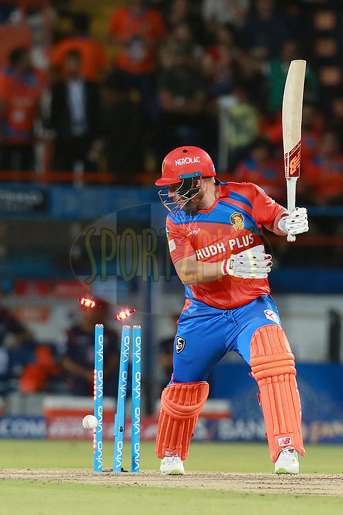 Aaron Finch of GL gets out during match 35 of the Vivo 2017 Indian Premier League between the Gujarat Lions and the Mumbai Indians  held at the Saurashtra Cricket Association Stadium in Rajkot, India on the 29th April 2017<br /> <br /> Photo by Rahul Gulati - Sportzpics - IPL