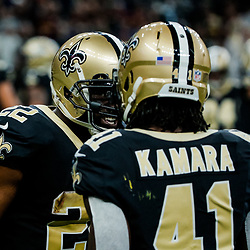 Nov 19, 2017; New Orleans, LA, USA; New Orleans Saints running back Mark Ingram (22) celebrates after a touchdown with running back Alvin Kamara (41) during the first quarter of a game against the Washington Redskins at the Mercedes-Benz Superdome. Mandatory Credit: Derick E. Hingle-USA TODAY Sports