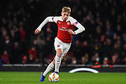 Arsenal Forward Emile Smith-Rowe (55) in action during the Europa League group stage match between Arsenal and Sporting Lisbon at the Emirates Stadium, London, England on 8 November 2018.