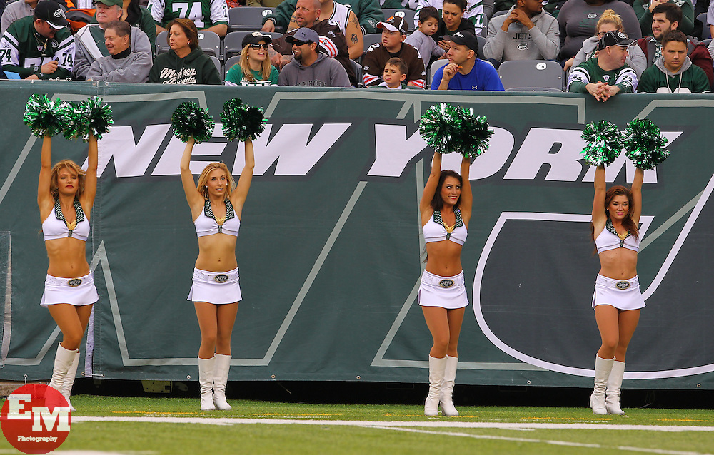 Dec 22, 2013; East Rutherford, NJ, USA; Members of the New York Jets Flight Crew cheer during the first half at of the New York Jets-Cleveland Browns games at MetLife Stadium.