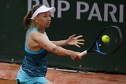 May 22, 2019 - Paris, France - Myrtille Georges of France plays a backhand during the first qualifications round of Roland Garros against Whitney Osugwe of USA, on 22 May 2019 in Paris, France, (Credit Image: © Ibrahim Ezzat/NurPhoto via ZUMA Press)