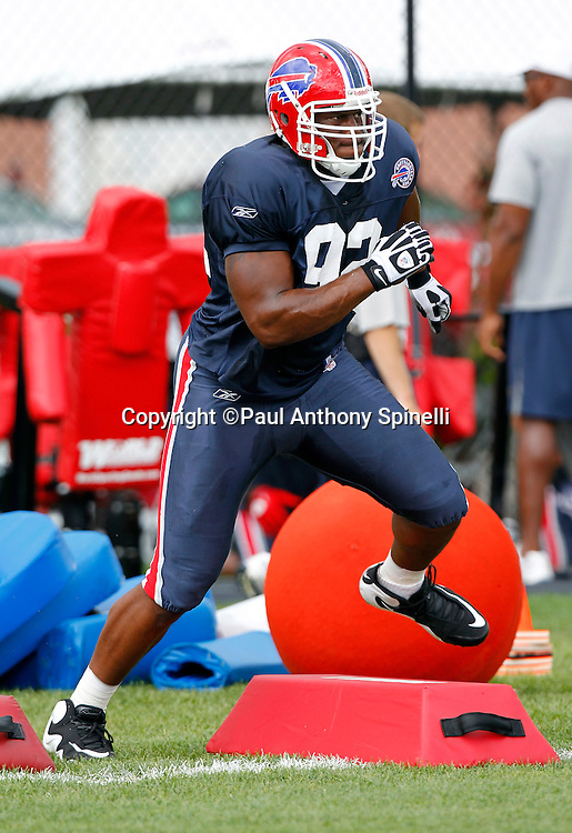 NFL Buffalo Bills rookie defensive end Alex Carrington (92) runs a drill during training camp at St. John Fisher College on August 5, 2010 in Pittsford, New York. (©Paul Anthony Spinelli)