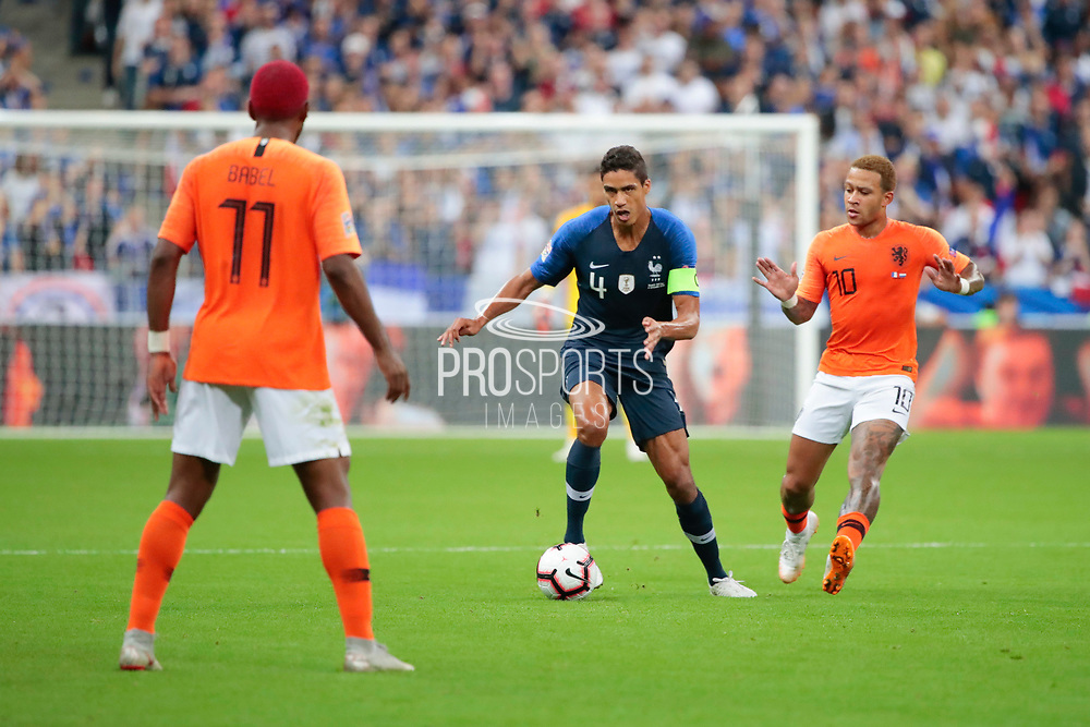Raphael Varane (FRA), Memphis Depay (NDL), Ryan Babel (NDL) during the UEFA Nations League, League A, Group 1 football match between France and Netherlands on September 9, 2018 at Stade de France stadium in Saint-Denis near Paris, France - Photo Stephane Allaman / ProSportsImages / DPPI
