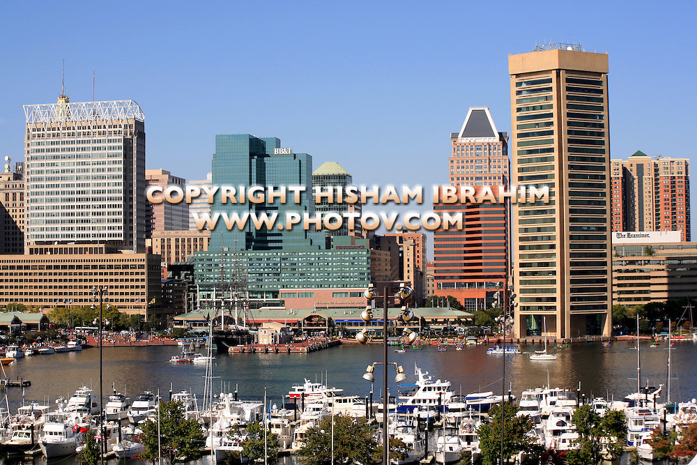 Baltimore Skyline and Inner Harbor, Baltimore, Maryland, USA