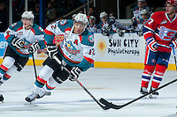 KELOWNA, CANADA -JANUARY 29: Tyrell Goulbourne #12 of the Kelowna Rockets skates against the Spokane Chiefs during the third period on January 29, 2014 at Prospera Place in Kelowna, British Columbia, Canada.   (Photo by Marissa Baecker/Getty Images)  *** Local Caption *** Tyrell Goulbourne;