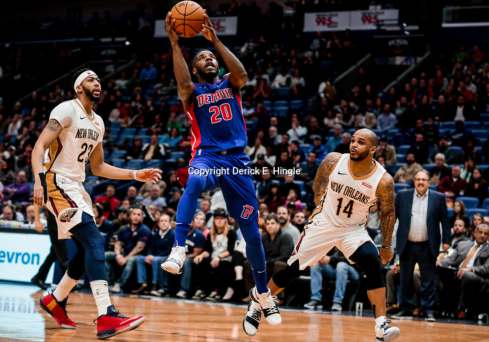 Jan 8, 2018; New Orleans, LA, USA; Detroit Pistons guard Dwight Buycks (20) shoots over New Orleans Pelicans forward Anthony Davis (23) and guard Jameer Nelson (14) during the first quarter at the Smoothie King Center. Mandatory Credit: Derick E. Hingle-USA TODAY Sports