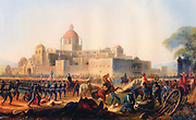 Occupation of the Convent of Churubusco 20 August 1847' painting by James Walker (1819-1899) American artist. Mexican-American War 1846-1848. American under command of  General Winfield Scott defeated Mexicans commanded by generals Manuel Rincon and Pedro Anaya. General Twiggs to the surrender of the Convent from Anaya, and United States troops were billeted there until 7 September.