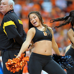 A member of the Syracuse dance team performs during a break in the action between the Orange and the Long Beach State 49ers during the second half at the Carrier Dome in Syracuse, New York. No. 4 Syracuse defeated Long Beach State 84-53.