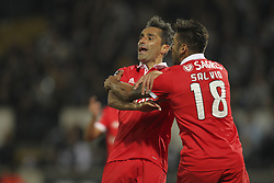 November 5, 2017 - Guimaraes, Guimaraes, Spain - Benfica's Brazilian forward Jonas celebrates after scoring goal with teammate Benfica's Argentinian forward Toto Salvio during the Premier League 2017/18 match between Vitoria SC and SL Benfica, at Dao Afonso Henriques Stadium in Guimaraes on November 5, 2017. (Credit Image: © Dpi/NurPhoto via ZUMA Press)