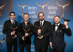 February 17, 2019 - Los Angeles, California, United States of America - (L-R) Richard Zangrande Gaubert, Cory Barlog, Matt Sophos, and Adam Dolin, winners of Videogame Writing, pose in the press room of the 2019 Writers Guild Awards at the Beverly Hilton Hotel on Sunday February 17, 2019 in Beverly Hills, California. JAVIER ROJAS/PI (Credit Image: © Prensa Internacional via ZUMA Wire)