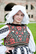 Brodsko kolo, Slavonski Brod, Croatia (9 June 2013). Young girl from Vrpolje in traditonal folk costume. The Brodsko kolo, now in its 49th year, is the oldest folk dancing festival in Croatia.