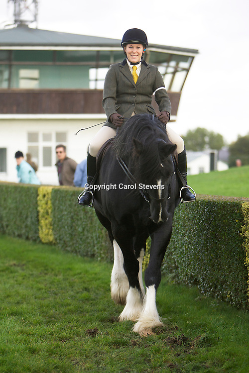 Mrs Ruth Walker riding Mrs Debbie Eastwood's 11 year old black mare Fellview Brazilia