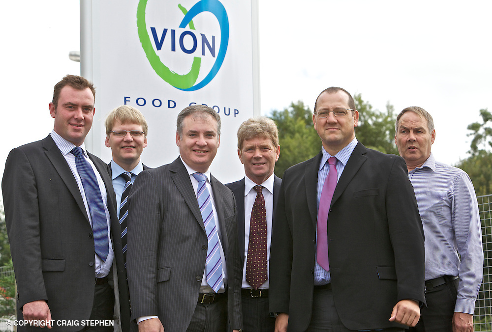 Richard Lochhead (Cabinet Secretary for Rural Affairs and the Environment) visit to Vion Food Group's Coupar Angus processing plant. L-R: Nick Smith, General Manager, Coupar Angus, William Gray, Senior Exec Food & Drink SDI, Richard Lochhead, Ian Findlay, Scottish Enterprise, Andrew Fisher, MD Vion Food Group Scotland Ltd, Dougie Maguire, Unite Union Dundee.