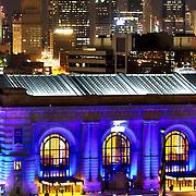 Downtown Kansas City's Union Station lit Royal Blue for Kansas City Royals' 2014 World Series run.