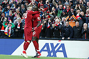Liverpool striker Sadio Mane (10) scores the second goal 2-0 and celebrates during the Premier League match between Liverpool and Cardiff City at Anfield, Liverpool, England on 27 October 2018.