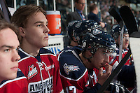 KELOWNA, CANADA - MARCH 23: The Tri-City Americans sit on the bench opposite the Kelowna Rockets on March 23, 2014 at Prospera Place in Kelowna, British Columbia, Canada.   (Photo by Marissa Baecker/Shoot the Breeze)  *** Local Caption ***