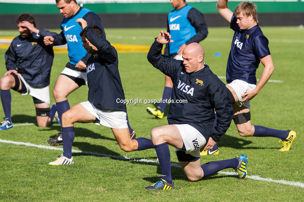Captains Run - Los Pumas vs Inglaterra, 14 de Junio 2013, Estadio José Amalfitani, Buenos Aires, Argentina. Copa QBE. Felipe Contepomi and Team doing elongation exercises.