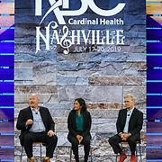 Cardinal Health RBC 2019 Closing Session. Eva Saha (host), Steve Light (VP Consumer Health), and Gabe Trahan (NCPA). Photo by Alabastro Photography.