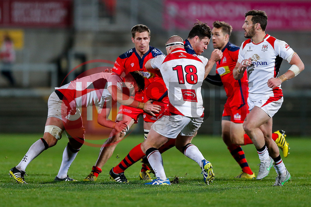 Bristol Rugby replacement Glen Townson is tackled by Ulster Ravens Number 8 Stephen Mulholland and replacement Jonny Simpson - Mandatory byline: Rogan Thomson/JMP - 13/11/2015 - RUGBY UNION - Kingspan Stadium - Belfast, Northern Ireland - Ulster Ravens v Bristol Rugby - The British & Irish Cup Pool 2.