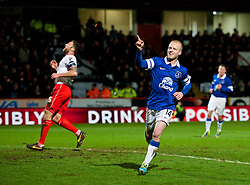 STEVENAGE, ENGLAND - Saturday, January 25, 2014: Everton's Steven Naismith celebrates scoring the second goal against Stevenage during the FA Cup 4th Round match at Broadhall Way. (Pic by Tom Hevezi/Propaganda)