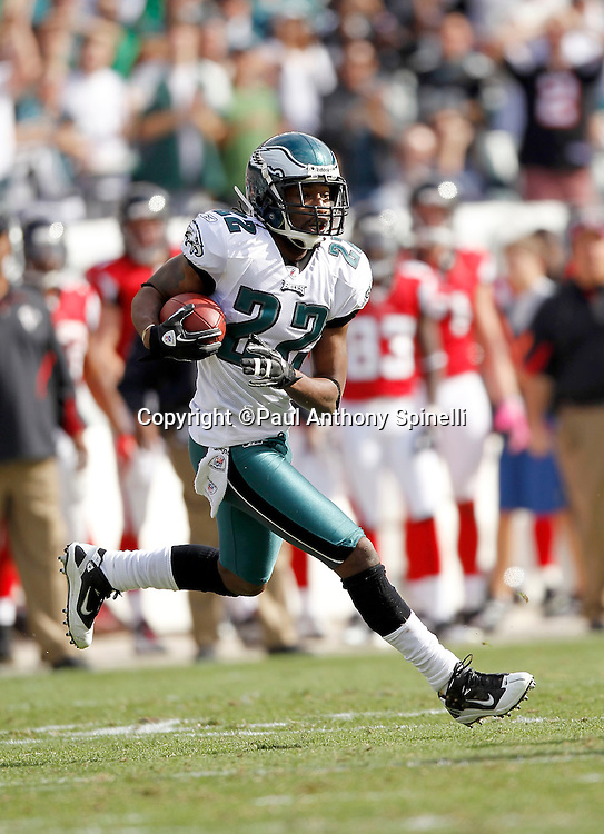 Philadelphia Eagles cornerback Asante Samuel (22) intercepts a pass during the NFL week 6 football game against the Atlanta Falcons on Sunday, October 17, 2010 in Philadelphia, Pennsylvania. The Eagles won the game 31-17. (©Paul Anthony Spinelli)