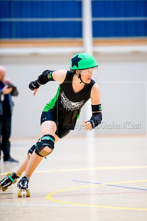 Lower Hutt, NZ. 15 October 2017. Quake, Battle & Roll, hosted by Richter City Roller Derby. Photo credit: Stephen A'Court. COPYRIGHT ©Stephen A'Court