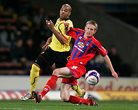 Photo: Tom Dulat.<br /> <br /> Crystal Palace v Watford. Coca Cola Championship. 29/10/2007.<br /> <br /> Jeff Hughes of Crystal Palace and Marlon King of Watford with the ball.