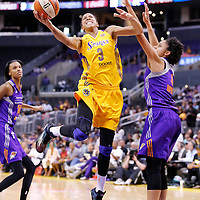 24 August 2014: Los Angeles Sparks forward/center Candace Parker (3) goes for the layup past Phoenix Mercury forward Candice Dupree (4) during the Phoenix Mercury 93-68 victory over the Los Angeles Sparks, in a Conference Semi-Finals at the Staples Center, Los Angeles, California, USA.