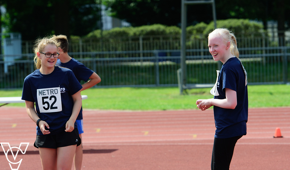 Metro Blind Sport's 2017 Athletics Open held at Mile End Stadium.  High Jump.  Rebecca Blakey, left, and Emma Quigley<br /> <br /> Picture: Chris Vaughan Photography for Metro Blind Sport<br /> Date: June 17, 2017