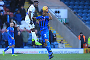 Calvin Andrew wins a header during the EFL Sky Bet League 1 match between Rochdale and Coventry City at Spotland, Rochdale, England on 9 February 2019.