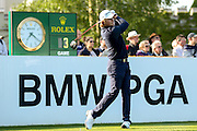 English golf professional Eddie Pepperell teeing off on the 1st during the BMW PGA Championship at the Wentworth Club, Virginia Water, United Kingdom on 26 May 2016. Photo by Simon Davies.