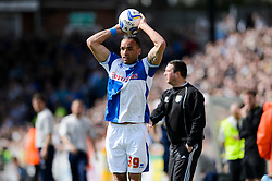 Kaid Mohamed (WAL) of Bristol Rovers takes a throw in - Photo mandatory by-line: Rogan Thomson/JMP - 07966 386802 - 03/05/2014 - SPORT - FOOTBALL - Memorial Stadium, Bristol - Bristol Rovers v Mansfield Town - Sky Bet League Two. (Note: Mansfield are wearing a Rovers spare kit having forgotten their own).