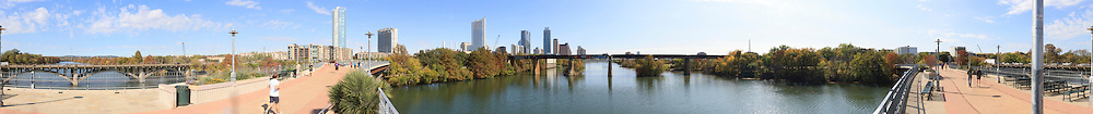 360˚ view of Austin Texas from James D. Pfluger Pedestrian and Bicycle Bridge over Lake Austin