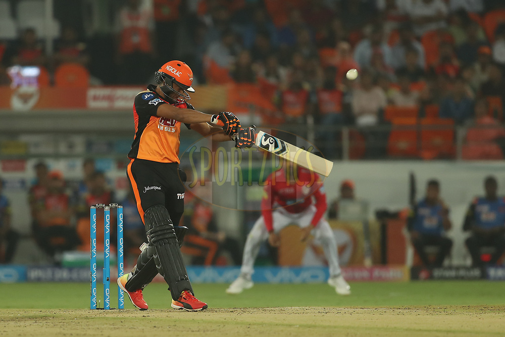 Shakib Al Hasan of the Sunrisers Hyderabad hits out and is caught but it's from a no all during match twenty five of the Vivo Indian Premier League 2018 (IPL 2018) between the Sunrisers Hyderabad and the Kings XI Punjab  held at the Rajiv Gandhi International Cricket Stadium in Hyderabad on the 26th April 2018.<br /> <br /> Photo by: Ron Gaunt /SPORTZPICS for BCCI