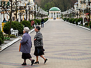 View to the promenade at spa resort of Frantiskovy Lazne in Czech Republic. Frantiskovy Lazne is world renowned as a spa. The salutary effects of the springs were known from the 15th century on.