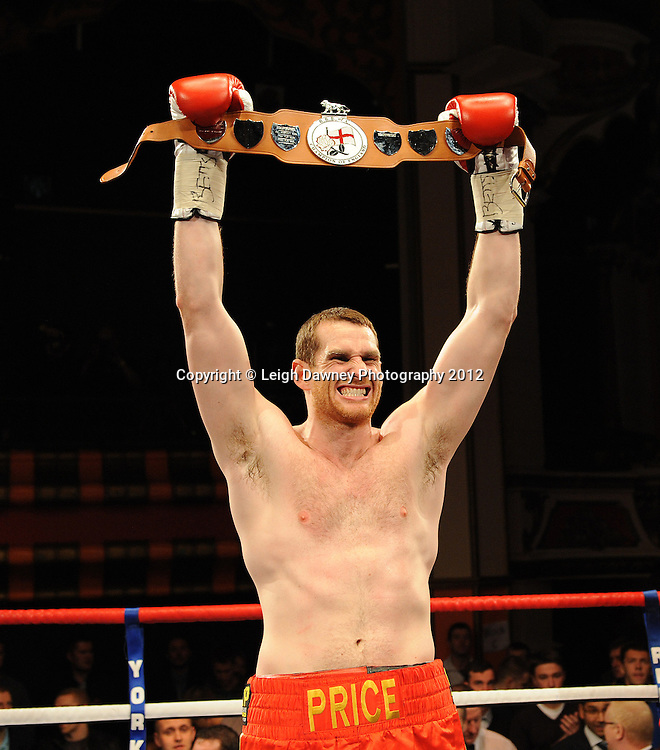 David Price jubilant after defeating John McDermott in 12x3 min contest to claim The British Heavyweight Title Eliminator at Olympia, Liverpool on the 21st January 2012. Referee Howard John Foster. Frank Maloney Promotions on Skysports HD1. © Leigh Dawney Photography 2012.