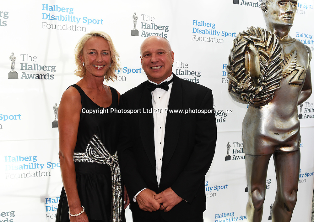 poses for a picture on the red carpet at the 52nd Halberg Awards. Halberg Disability Sport Foundation. Vector Arena, Auckland, New Zealand. Wednesday 11 February 2015. Copyright Photo: Andrew Cornaga / www.photosport.co.nz