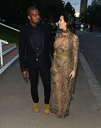 Kim Kardashian and husband Kanye West attend the Vogue 100 Gala Dinner in London, UK. 23/05/2016<br />