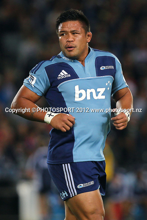 Blues' Keven Mealamu. Super Rugby rugby union match, Blues v Sharks at Eden Park, Auckland, New Zealand. Friday 13th April 2012. Photo: Anthony Au-Yeung / photosport.co.nz