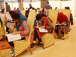 October 5, 2018 - Jamshoro, Sindh, Pakistan - Students attended the pre-entry test 2018 of Center of Excellence in Arts and Design CEAD at Jamshoro, 470 students appear for 155 seats. (Credit Image: © Janali Laghari/Pacific Press via ZUMA Wire)