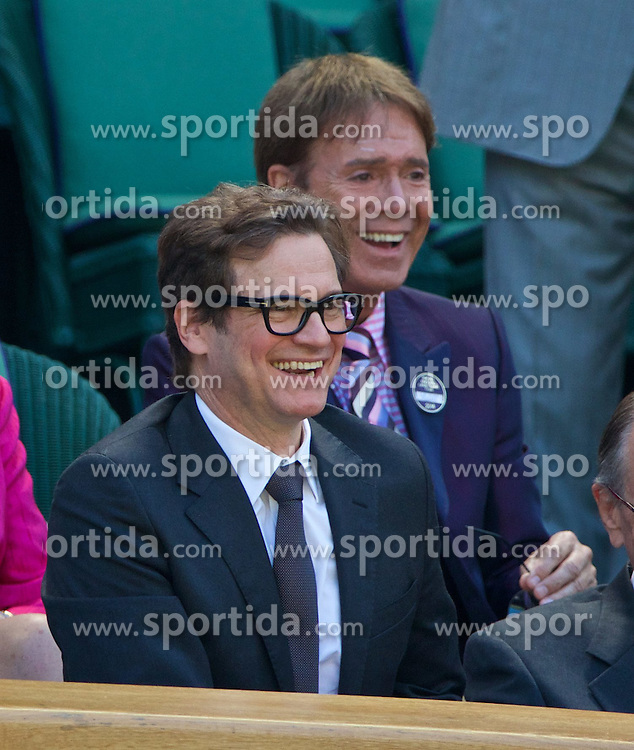03.07.2014, All England Lawn Tennis Club, London, ENG, WTA Tour, Wimbledon, Tag 10, im Bild Colin Firth and Cliff Richard during the Ladies' Singles Semi-Final match on day ten // during day 10 of the Wimbledon Championships at the All England Lawn Tennis Club in London, Great Britain on 2014/07/03. EXPA Pictures &copy; 2014, PhotoCredit: EXPA/ Propagandaphoto/ David Rawcliffe<br /> <br /> *****ATTENTION - OUT of ENG, GBR*****