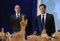 File photo - Nicolas Sarkozy, France's newly-elected President, with Claude Gueant beside, addresses his supporters at the Salle Gaveau in Paris, May 6, 2007. French voters elected reform-minded Nicolas Sarkozy as their new president on Sunday, giving him a comfortable winning margin, preliminary official results and projections from four polling agencies showed. With more than half of the vote counted, Sarkozy was scoring just over 53 percent to a little more than 46 percent for Socialist Segolene Royal. Polling agencies also had the conservative Sarkozy winning 53 percent of the vote compared to 47 for Royal amid massive turnout of 85 percent. Former French President Nicolas Sarkozy was in police custody on Tuesday morning March 20, 2018, an official in the country's judiciary said. He was to be questioned as part of an investigation into suspected irregularities over his election campaign financing, the same source added. The probe related to alleged Libyan funding for Sarkozy's 2007 campaign, Le Monde newspaper reported. Photo by Nicolas Gouhier/ABACAPRESS.COM