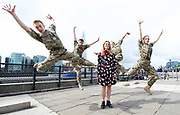 5 Soldiers: The Body is the Frontline <br /> at the Tower of London, Great Britain <br /> 7th September 2017 <br /> Rosie Kay Dance Company <br /> <br /> Duncan Anderson <br /> Luke Bradshaw<br /> Reece Causton <br /> Harriet Ellis <br /> <br /> with Rosie Kay - centre <br /> <br /> perform an extract from the work at the Tower of London - The show will be at military drill hall Yeomanry House, Bloomsbury until 9th September 2017. <br /> <br /> <br /> <br /> Photograph by Elliott Franks <br /> Image licensed to Elliott Franks Photography Services