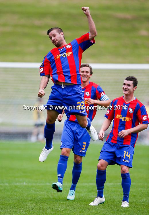 WaiBop's Craig Wylie celebrates his goal. ASB Premiership Footbal Match. WaiBoP United v Hawkes Bay United, Rotorua International Stadium, Rotorua, New Zealand. Saturday, 20 December, 2014. Photo: John Cowpland / photosport.co.nz