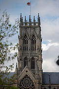 A general view ahead of stage 1 pictured Doncaster Minster during the first stage of the Tour de Yorkshire from Doncaster to Selby, Doncaster, United Kingdom on 2 May 2019.