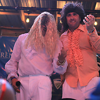 """Jesse Bandre and Blair Hill do their best air guitar solo as they portray the band Queen as they perform """"Bohemian Rhapsody"""" during the New Expectations for Women in Mississippi (NEWMS), a special project of the CREATE Foundation Lip Synce Battle Tuesday night at Steele's Dive in Tupelo. The event was held as a fund aiser which assists women and children who can't be helped by other organizations."""