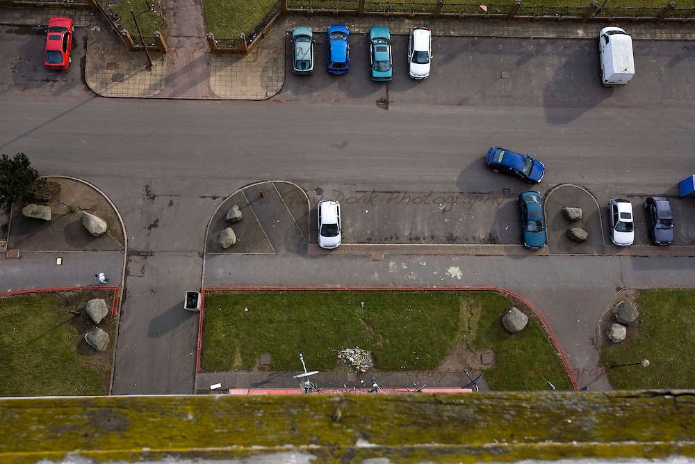 Red Road flats, Glasgow..63 Petershill Drive..Scene of suicide of Russian family of asylum seekers, who jumped from the 15th floor.(view from the 17th floor showing floral tributes placed at the scene)